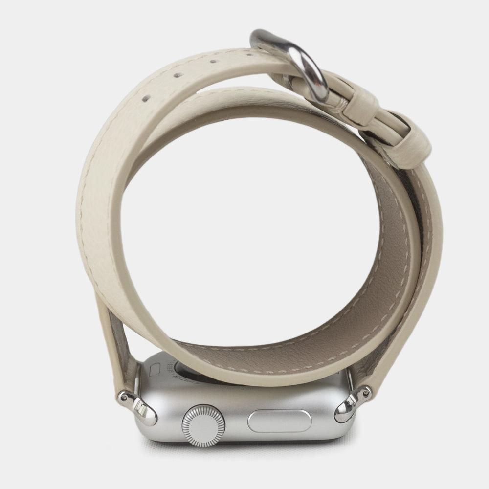 Ремешок Double Strap для iWatch 38mm из кожи теленка молочного цвета