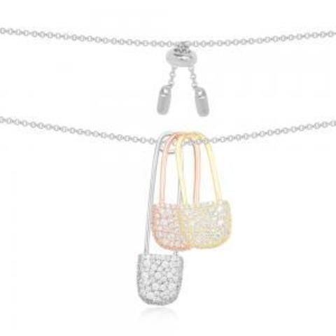 Колье с тремя булавками из серебра в стиле APM MONACO