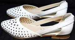 Стильные женские балетки с открытыми боками Evromoda 286.85 Summer White.