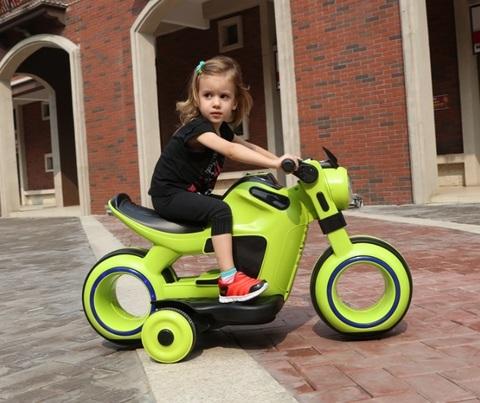 Электромобиль детский мотоцикл зеленый