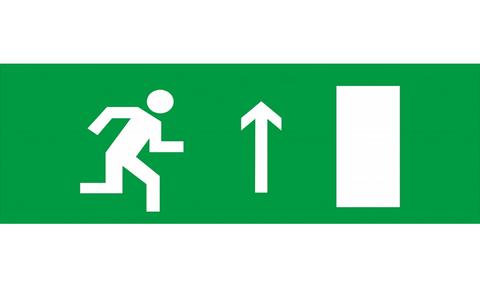Знак для табло направления движения – К ЭВАКУАЦИОННОМУ ВЫХОДУ ПРАВОСТОРОННИЙ