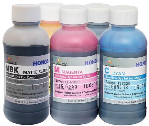 Комплект водных чернил для Canon TM-200, TM-300. Набор 5 цветов по 200 мл с быстросохнущим пигментом..