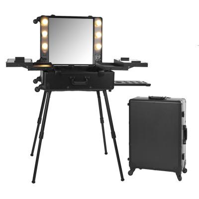 Мобильная студия визажиста. Складная, на колесиках и лампами. Цвет черный.
