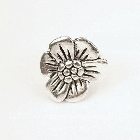 """Бусина металлическая (для шнура 10х7 мм) """"Цветок"""" 17х17х13 мм (цвет - античное серебро)"""