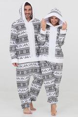 "Пижама-кигуруми Футужама ""Санта"" серый с оленями"