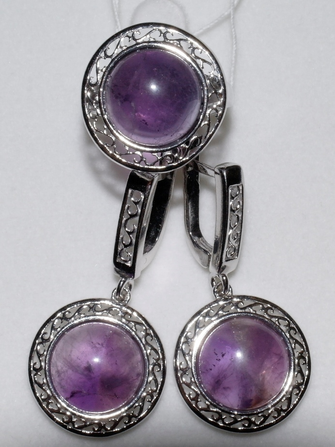 Дина (кольцо + серьги из серебра)