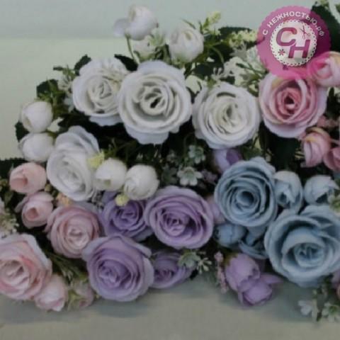 Розы искусственные с бутончиками, букет 7 веток, 34 см.