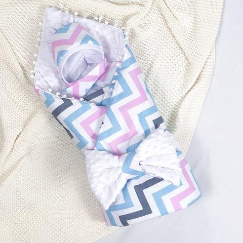 СуперМамкет. Конверт-одеяло с бантом и шапочкой Зигзаг, голубой/розовый/белый