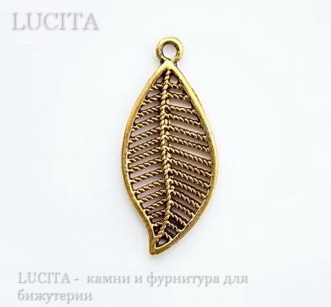 """Подвеска """"Листик"""" филигрань (цвет - античное золото) 27х12 мм"""