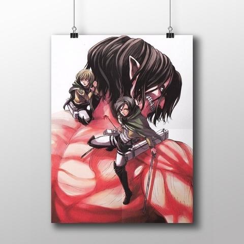 Плакат с Эреном-гигантом, Микасой и Армином