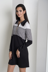 Бренда. Комбинированное молодежное платье. Дизайн лапки