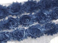 Шифоновые шебби-розы сапфир диаметр 6 см