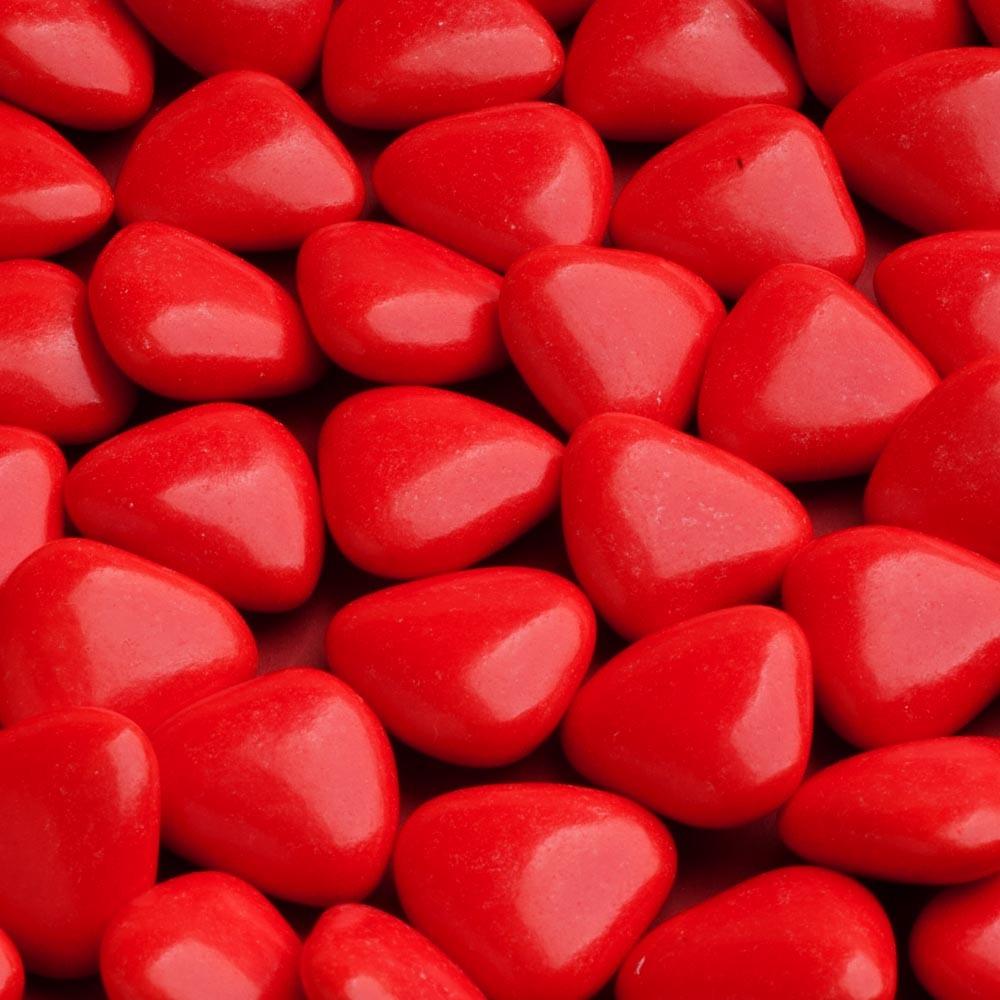 Сердца мини красные с шоколадом