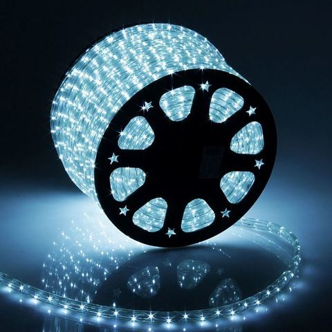 Дюралайт светодиодный, чейзинг, 13мм - 3 жилы - 36 led/m, Белый - 100м