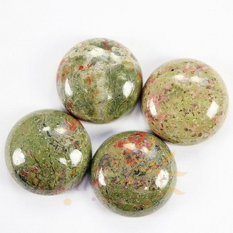 Кабошон круглый Унакит, 16 мм
