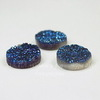 Кабошон круглый Кварц с друзой синий (тониров), 18 мм