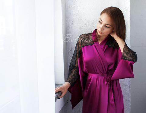 Длинный шелковый  халат  в пол винного цвета c черным кружевом