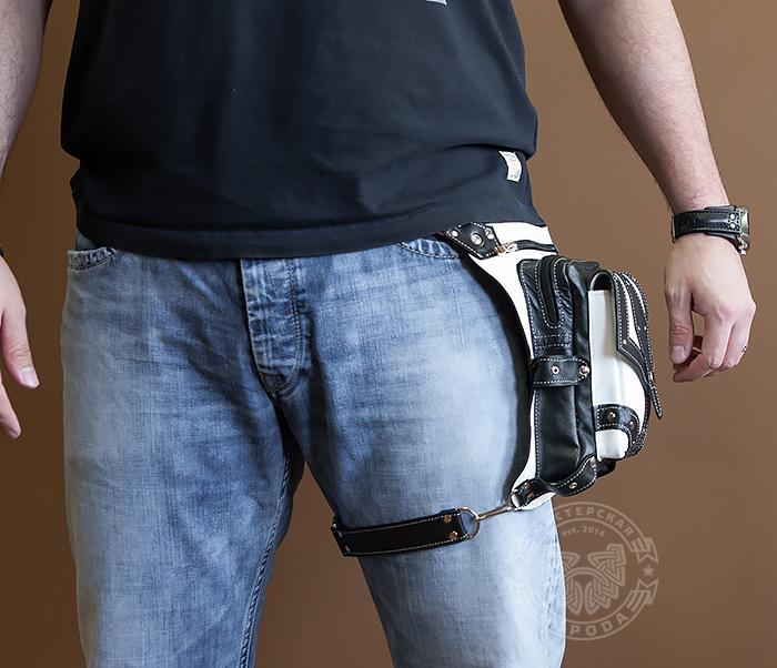 BAG373-4 Мужская сумка на бедро из белой и черной кожи, ручная работа фото 02