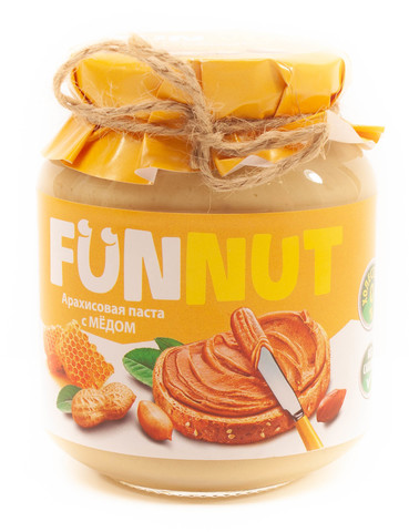 Арахисовая паста FUNNUT, с медом, 340 гр