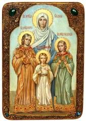 Инкрустированная живописная икона Вера, Надежда, Любовь и мать их София 42х29см на натуральном кипарисе в подарочной коробке
