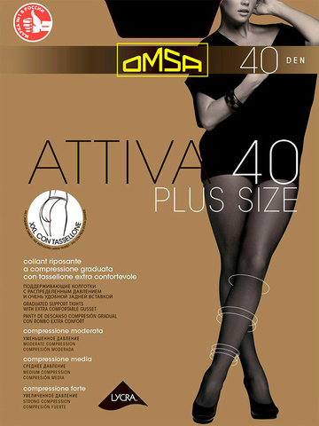 Колготки Attiva 40 XXL Plus Size Omsa
