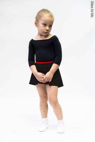 Детский комплект: купальник 2 Рукава черный + юбка