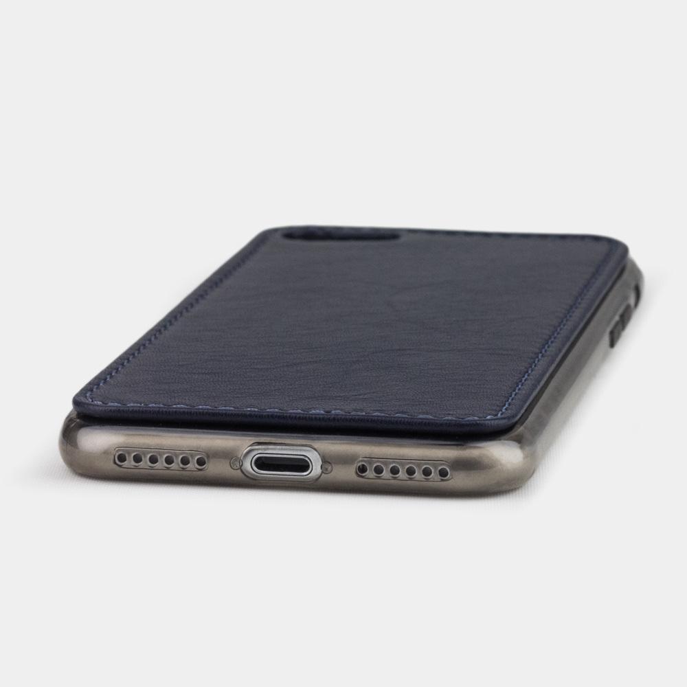 Чехол-накладка для iPhone 8 из натуральной кожи теленка,  цвета индиго