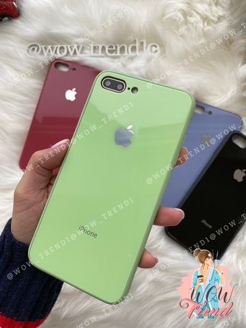 Чехол iPhone 7/8 Plus Glass Pastel color Logo /mint/