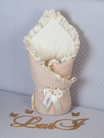 Зимний вязаный конверт одеяло Ажур (капучино)