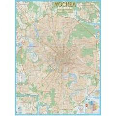 Настенная карта Москва с каждым домом, 1:21000 ламинированная