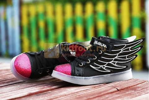 Светящиеся кроссовки с крыльями с USB зарядкой Бебексия (BEIBEIXIA), цвет черный розовый, светится вся подошва. Изображение 6 из 20.