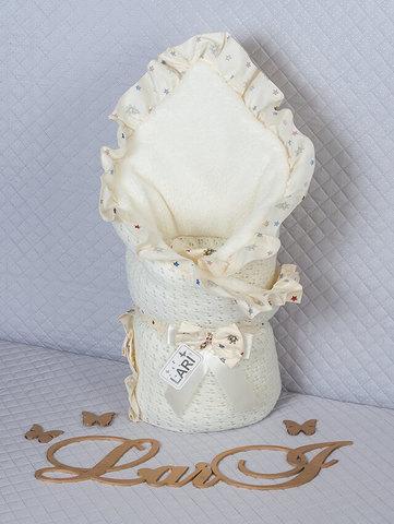 Зимний вязаный конверт одеяло Ажур (кремовый)