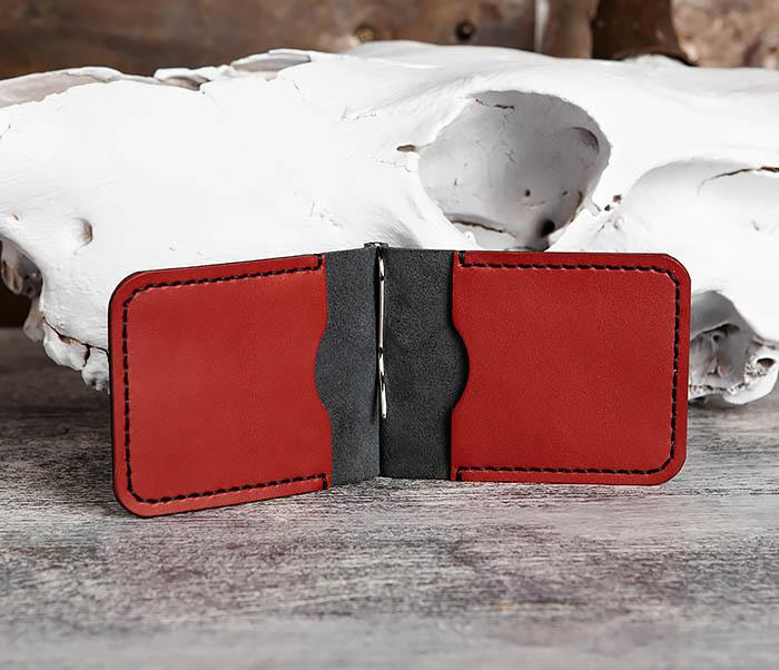 WB172-1 Зажим для купюр из кожи черного и красного цветов фото 06