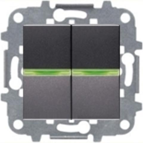 Переключатель двухклавишный с подсветкой. Цвет Антрацит. ABB Niessen Zenit. N2102 AN+N2102 AN+N2271.9+N2192 RJ+N2192 RJ