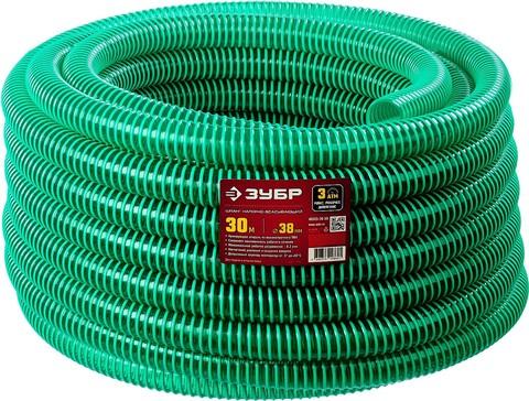 ЗУБР Шланг напорно-всасывающий со спиралью ПВХ, 3 атм, 38мм х 30м