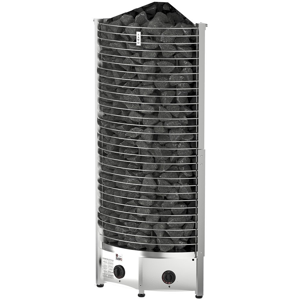 Серия Tower: Электрическая печь SAWO TOWER TH6-90NB-CNR-P (9 кВт, встроенный пульт, угловая)