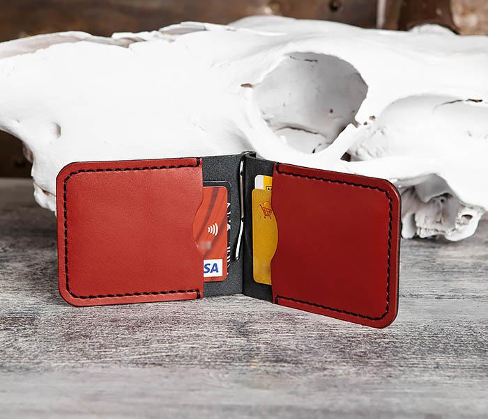 WB172-1 Зажим для купюр из кожи черного и красного цветов фото 09
