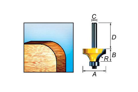 Фреза кромочная калевочная 16,7*32*9,5/8 мм, R 2 мм
