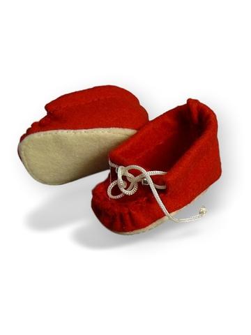 Мокасины из фетра - Красный. Одежда для кукол, пупсов и мягких игрушек.