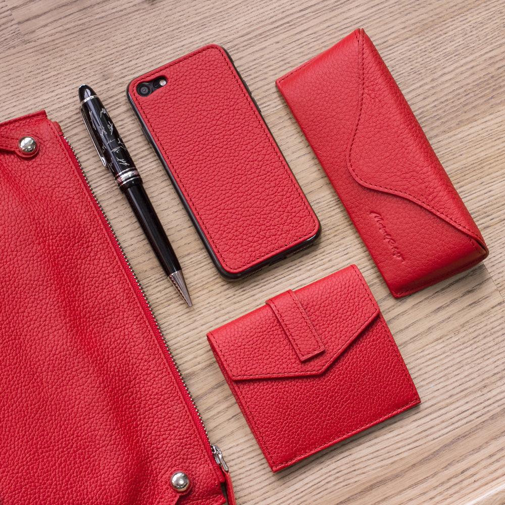 Чехол-накладка для iPhone 8 из натуральной кожи теленка, красного цвета