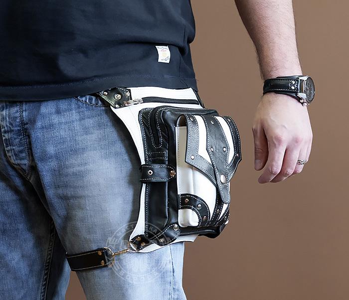 BAG373-4 Мужская сумка на бедро из белой и черной кожи, ручная работа фото 03