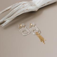 Ассиметричные серьги «Миро» из пластика с цепями  оптом и в розницу