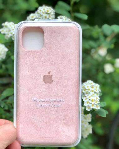 Чехол iPhone 11 Pro Max Alcantara case full /pink/
