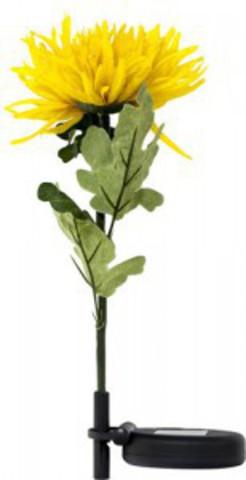 Светильник садово-парковый на солнечной батарее «Хризантема в горшке», желтый, 1 LED (белый), H 35cм , PL309 (Feron)