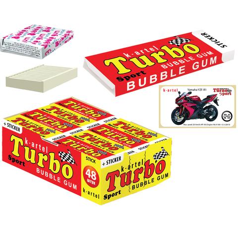 8x48 «TURBO». Резинка жевательная недражированная со вкусом персика с наклейкой 14 гр.