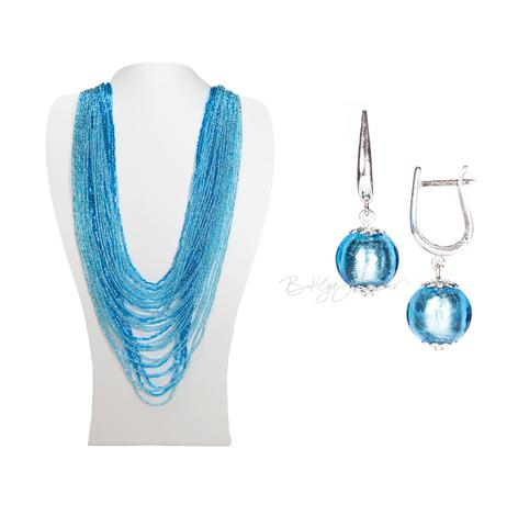 Комплект бисерный голубой (серьги-бусины и колье) №4