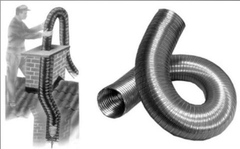 Газоход гофрированный d 115 мм (1м) из нержавеющей стали