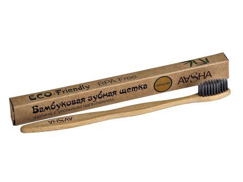 Бамбуковая зубная щетка с угольной щетиной средняя AASHA
