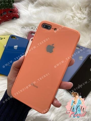Чехол iPhone 7/8 Plus Glass Pastel color Logo /peach/
