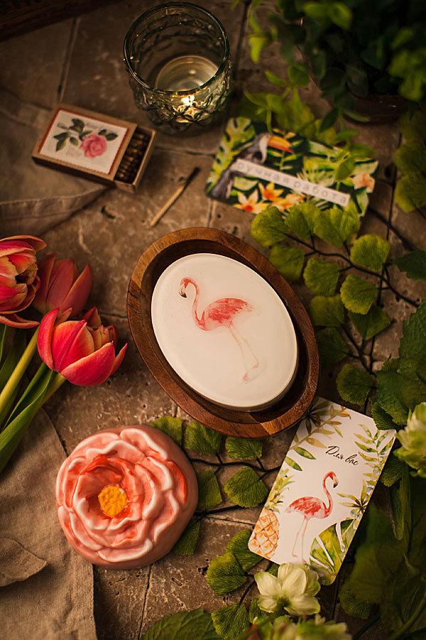 Бирка для мыла ручной работы Фламинго